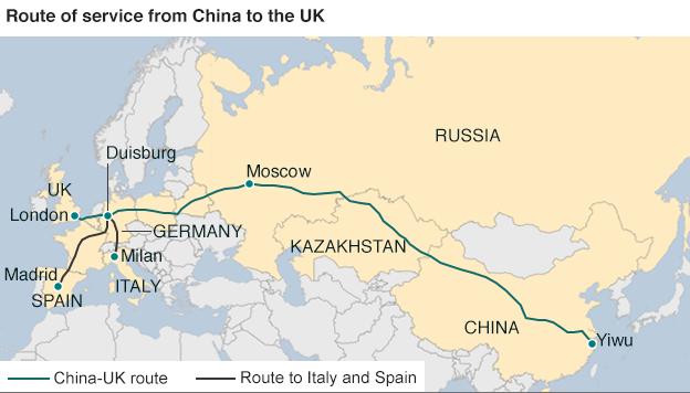 1-ый товарный поезд изКитая прибыл в великобританию