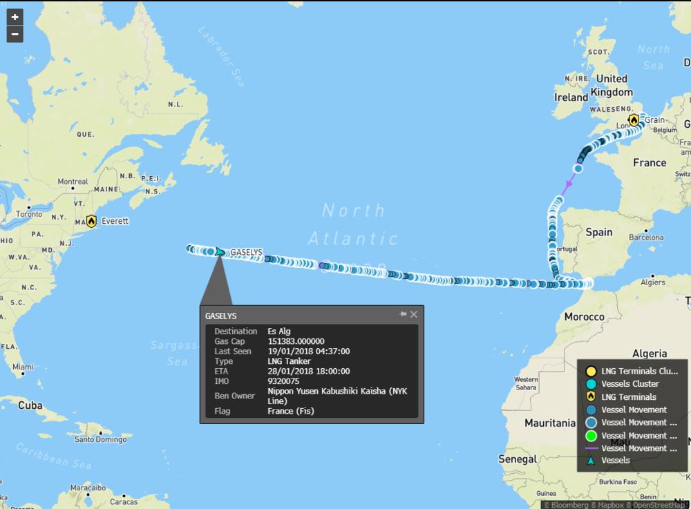 Танкер с русским газом для США развернулся среди Атлантики